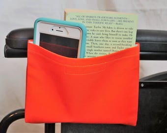 Orange Solid Color Single Pocket Armrest Bag for Wheelchair, Walker or other Mobility Aides