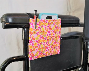 Pink, Orange, and Yellow Flowers Armrest Hanging Cell Phone Holder for a Wheelchair, Walker or other Mobility Aides
