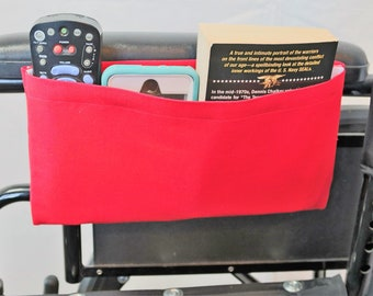True Red Solid Color Single Pocket Armrest Bag for Wheelchair, Walker or other Mobility Aides