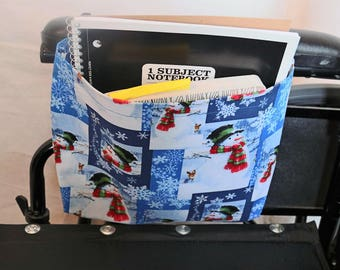 Snowman Winter Scene Single Pocket Armrest Bag for Wheelchair, Walker or other Mobility Aides Snap closure, hook and loop closure