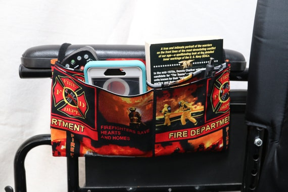 Fire Fighters Themed Multiple Pocket Armrest Bag for Wheelchair