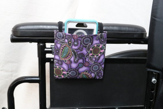 Purple Sea Turtles Armrest Hanging Cell Phone Holder for a Wheelchair, Walker or other Mobility Aides