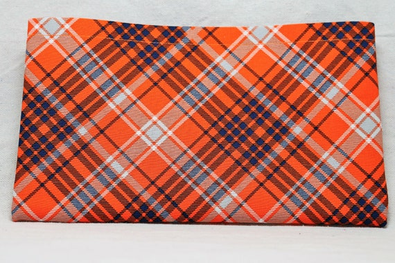 Orange and Blue Plaid Single Pocket Armrest Bag for Wheelchair, Walker or other Mobility Aides, Optional Closure Styles Available