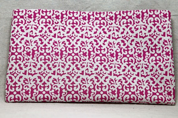 Pink with White Swirls Single Pocket Armrest Bag for Wheelchair, Walker or other Mobility Aides, Optional Closure Styles Available