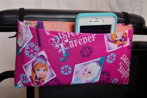 Princess Single Pocket Armrest Bag for Wheelchair, Walker or other Mobility Aides, Optional Closure Styles Available