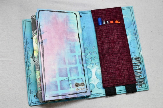 Burgandy Pocket Travelers Journal Multiple Pen Holder, Planner , Journal Pen Holder,  Travel Journal Pen Holder Inside Outside