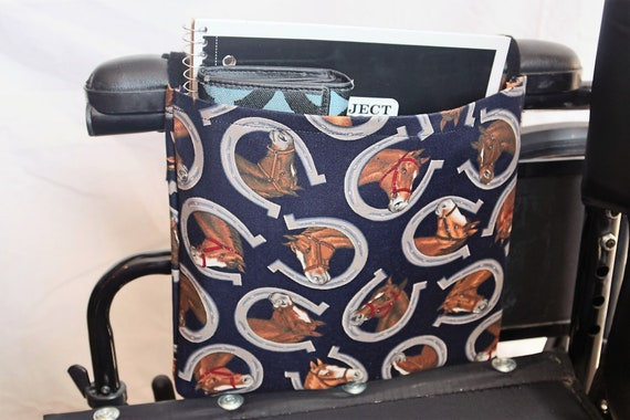 Horses and Horseshoes Single Pocket Armrest Bag for Wheelchair, Walker or other Mobility Aides, Optional Closure Styles Available