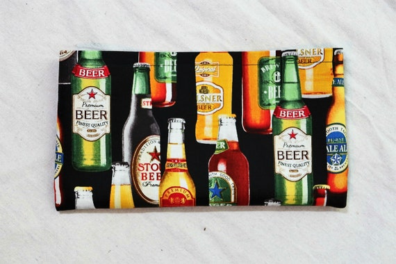 Beer Themed Single Pocket Armrest Bag for Wheelchair- Optional Closure Styles Available
