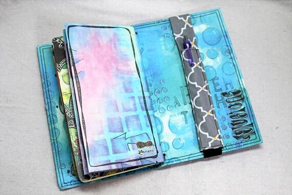 Gray, Yellow and White Pattern Traveler Journal Single Pen Holder, Planner , Journal Pen Holder,  Travel Journal Pen Holder Inside Outside