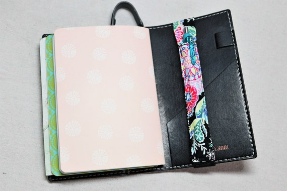 Neon and Black PERSONAL SIZE! Journal Single Pen Holder, Planner , Journal Pen Holder,  SMALL Journal Only