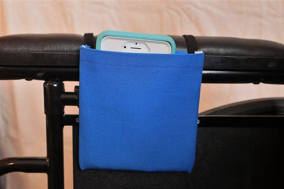 Blue Solid Color Armrest Hanging Cell Phone Holder for a Wheelchair, Walker or other Mobility Aides