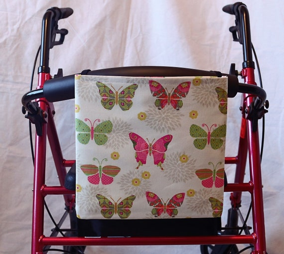 Butterflies Single Pocket Armrest Bag for Wheelchair, Walker or other Mobility Aides, Extra Large, Optional Closures Styles Available