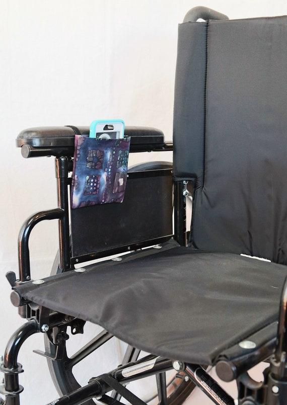 Dark Marbled Wheelchair Arm Rest Cell Phone Holder, Wheelchair cellphone pocket, Wheelchair arm rest cell phone pouch, Wheelchair XS Pouch