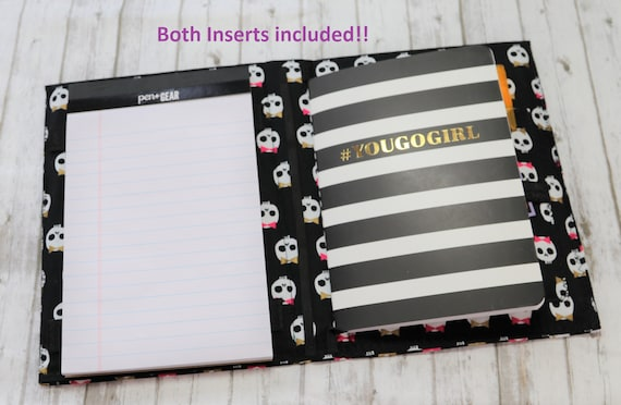 Adorable Skulls Fabric Covered Travelers Notebook and mini legal pad holder