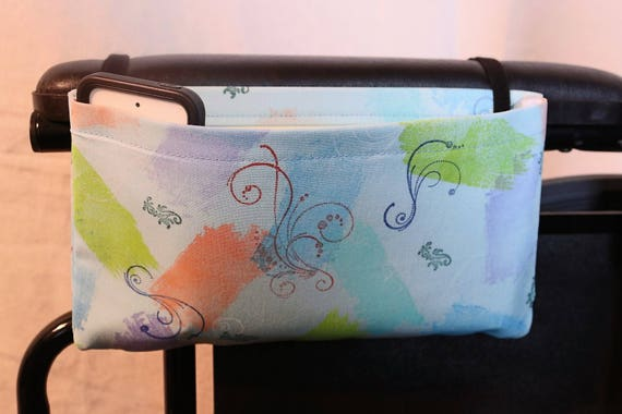 Single Pocket Armrest Bag for Wheelchair, Walker or other Mobility Aides - One of a Kind Hand Painted Fabric