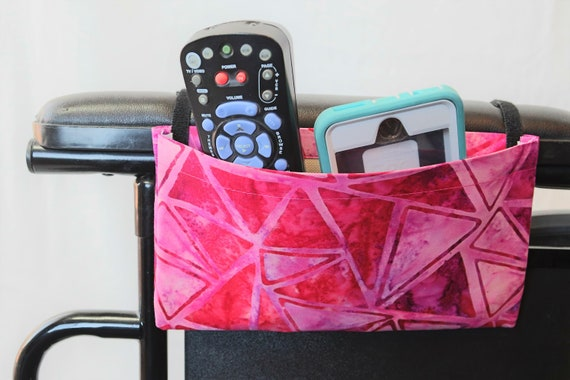 Bright Pink Triangles Single Pocket Armrest Bag for Wheelchair, Walker or other Mobility Aides