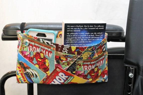 Reversable Super Hero Single Pocket Armrest Bag for Wheelchair - Optional Closure Styles Available