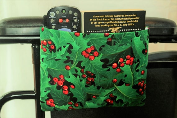 Holly Berry Single Pocket Armrest Bag for Wheelchair, Walker or other Mobility Aides, Hook and Loop or Snap Closure Available
