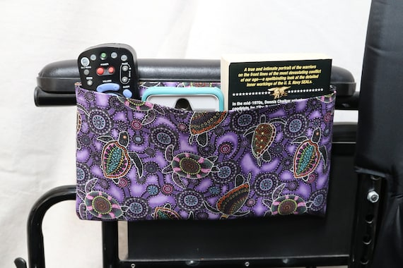 Purple Sea Turtles Themed Wheelchair Accessory Single Pocket Pouch - Optional Closures are Available