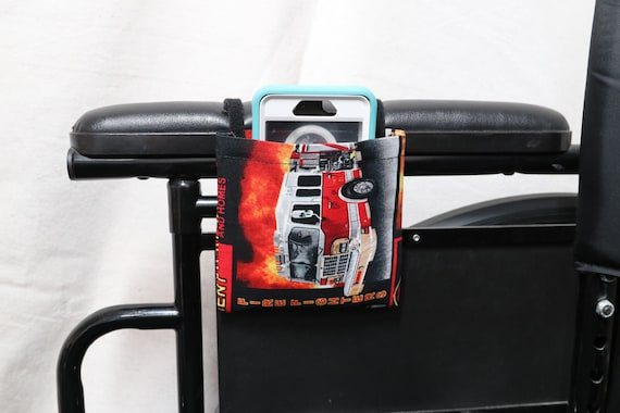 Firetruck Armrest Hanging Cell Phone Holder for a Wheelchair, Walker or other Mobility Aides