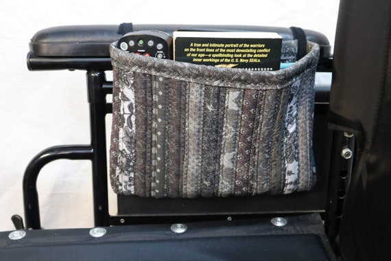 New Style! Puff Quilted Multiple Pocket Armrest Pouch Accessory Bag for Wheelchairs