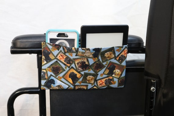 Dogs Single Pocket Armrest Bag for Wheelchair - Optional Closure Styles Available