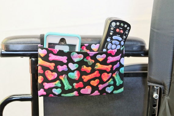 Rainbow Bones and Hearts Single Pocket Armrest Bag for Wheelchair, Walker or other Mobility Aides