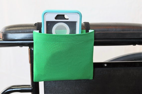 True Green Solid Color Armrest Hanging Cell Phone Holder for a Wheelchair, Walker or other Mobility Aides