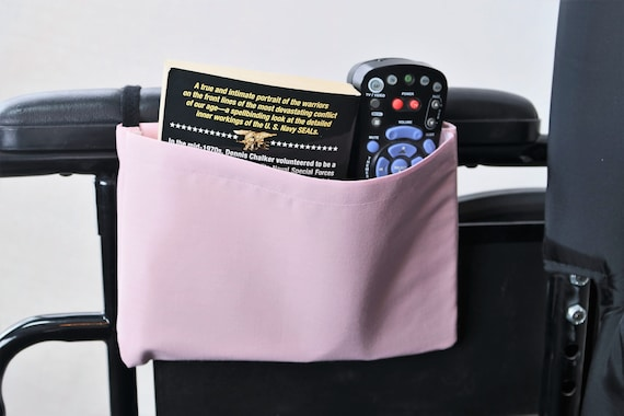 Pale Pink Solid Color Single Pocket Armrest Bag for Wheelchairs