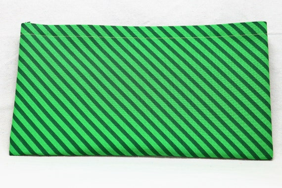 Green Stripes Single Pocket Armrest Bag for Wheelchair, Walker or other Mobility Aides, Optional Closure Styles Available