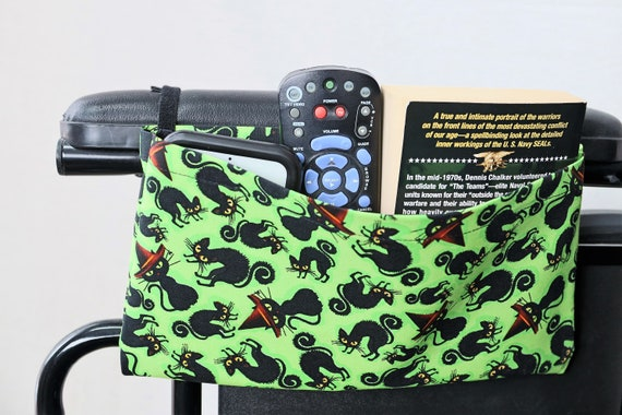 Black Cats Single Pocket Armrest Bag for Wheelchair - Hook and Loop or Snap Closure Available