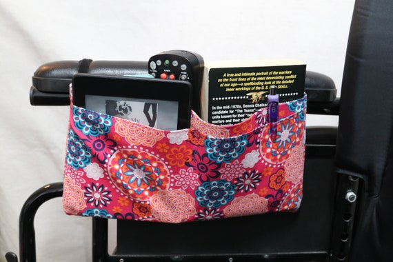 Colorful Mandala Themed Multiple Pocket Armrest Bag for Wheelchair - Optional Snap Closure is Available