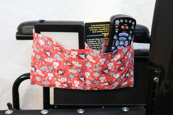 Cats Multiple Pocket Armrest Bag for Wheelchair - Optional Snap Closure is Available