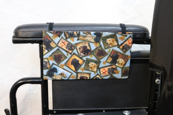 Black and Yellow Labs Single Pocket Armrest Bag for Wheelchair - Optional Closure Styles Available