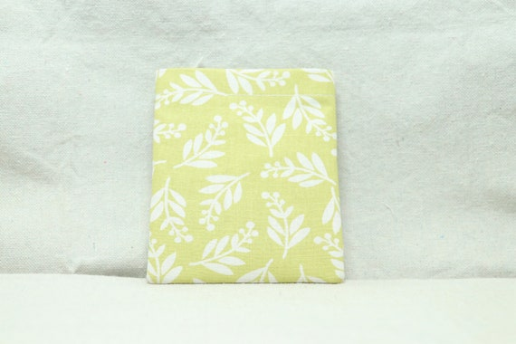 Pale Green with white leaves Wheelchair Arm Rest Cell Phone Holder, Wheelchair cellphone pocket, Wheelchair arm rest cell phone pouch