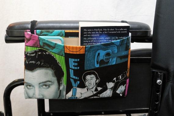 Elvis the King Single Pocket Armrest Bag for Wheelchair - Optional Closure Styles Available