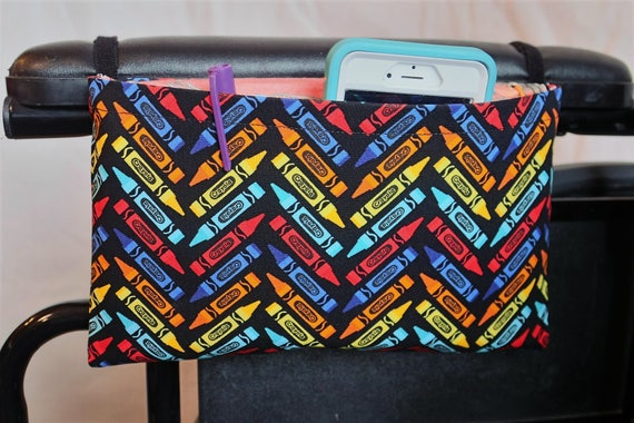Crayons Single Pocket Armrest Bag for Wheelchair - Optional Closure Styles Available