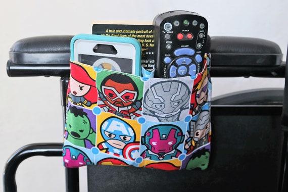 Super Heros Multiple Pocket Armrest Bag for Wheelchair, Walker or other Mobility Aides