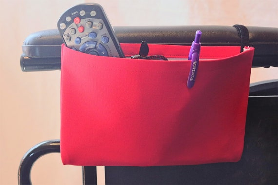True Red Solid Color Single Pocket Armrest Bag for Wheelchairs
