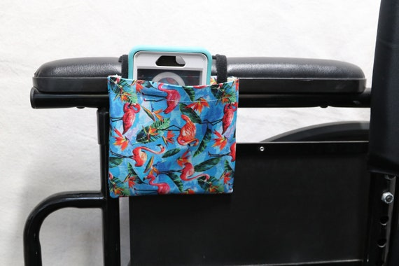 Flamingos Armrest Hanging Cell Phone Holder for a Wheelchair, Walker or other Mobility Aides