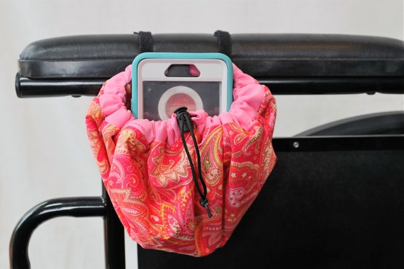 Pink and Orange Hanging Cinch Bag for your Wheelchair, Walker or other Mobility Device, Cell Phone Holder