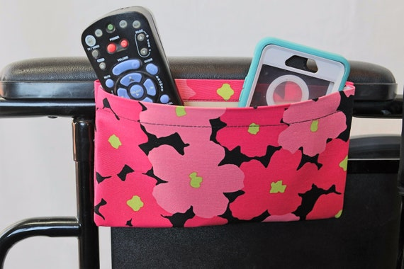 Bright Pink Flowers Single Pocket Armrest Bag for Wheelchair, Walker or other Mobility Aides