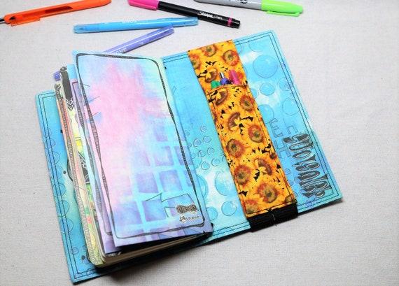 Sunflowers Travelers Journal Multiple Pen Holder, Planner , Journal Pen Holder,  Travel Journal Pen Holder Inside Outside
