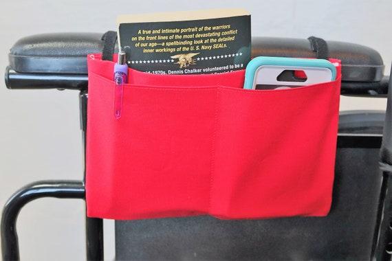 Red Multiple Pocket Armrest Bag for Wheelchairs
