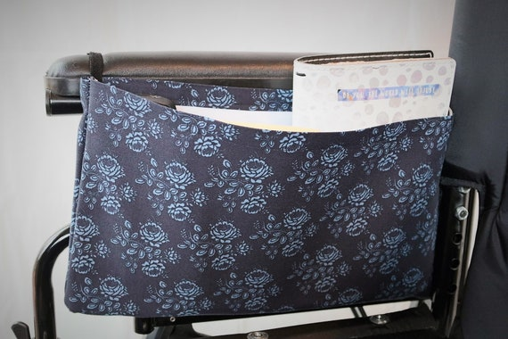 Blue Flowers Single Pocket Armrest Bag for Wheelchair - Optional Closures Available