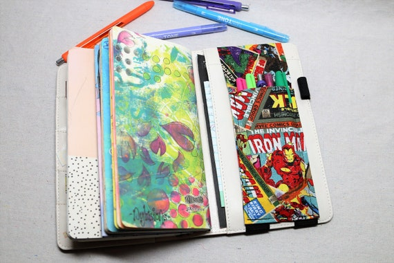 Superheros Travelers Journal Multiple Pen Holder, Planner , Journal Pen Holder,  Travel Journal Pen Holder Inside Outside