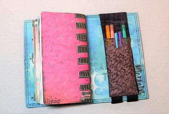 Pink, Black and Brown Leaves Travelers Journal Multiple Pen Holder, Planner , Journal Pen Holder,  Travel Journal Pen Holder Inside Outside