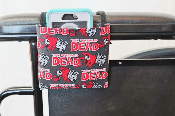Zombies Wheelchair Arm Rest Cell Phone Holder, Wheelchair cellphone pocket, Wheelchair arm rest cell phone pouch, Wheelchair XS Pouch