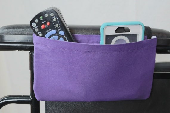 Purple Solid Color Single Pocket Armrest Bag for Wheelchairs