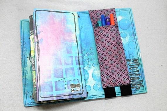 Vintage Purples Travelers Journal Multiple Pen Holder, Planner , Journal Pen Holder,  Travel Journal Pen Holder Inside Outside